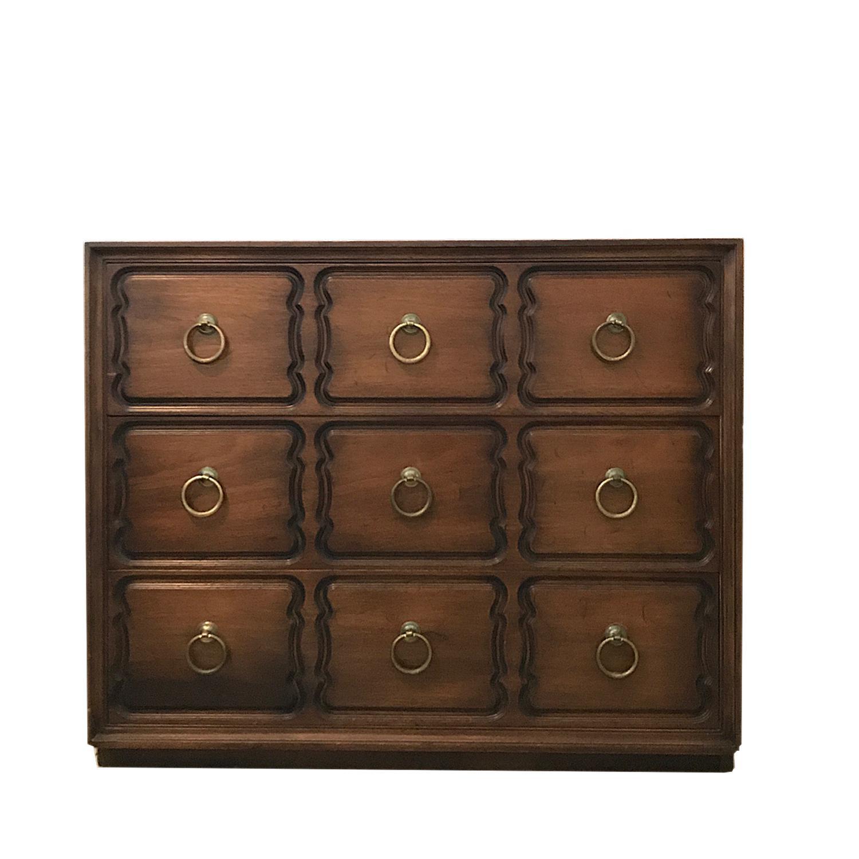 Dorothy Draper Heritage Henredon Dresser Burnished Walnut With Brass Ring  Pulls   Image 5 Of