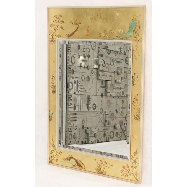 Gold La Barge Reverse Painted Gold Leaf Rectangular Frame Decorative Mirror For Sale - Image 8 of 13
