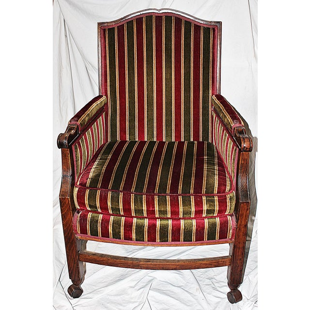 French Rolling French Chair in Velour Stripe For Sale - Image 3 of 6