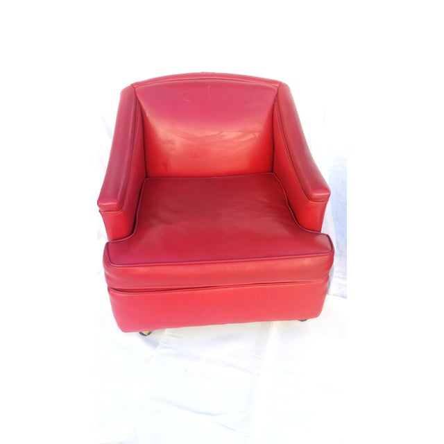 Mid-Century Modern Lipstick Red Vinyl Club Chairs - A Pair For Sale - Image 3 of 11
