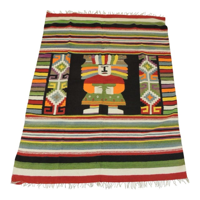 Large Vintage Woven Peruvian Throw With Fringes For Sale