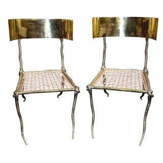 "Pair of Sculptural ""Snake"" Design Brass Accent Side Chairs For Sale"