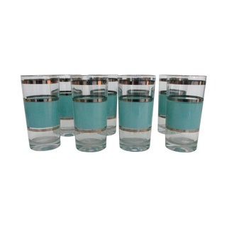 Mid-Century Aqua & Platinum Striped Tumblers - Set of 8