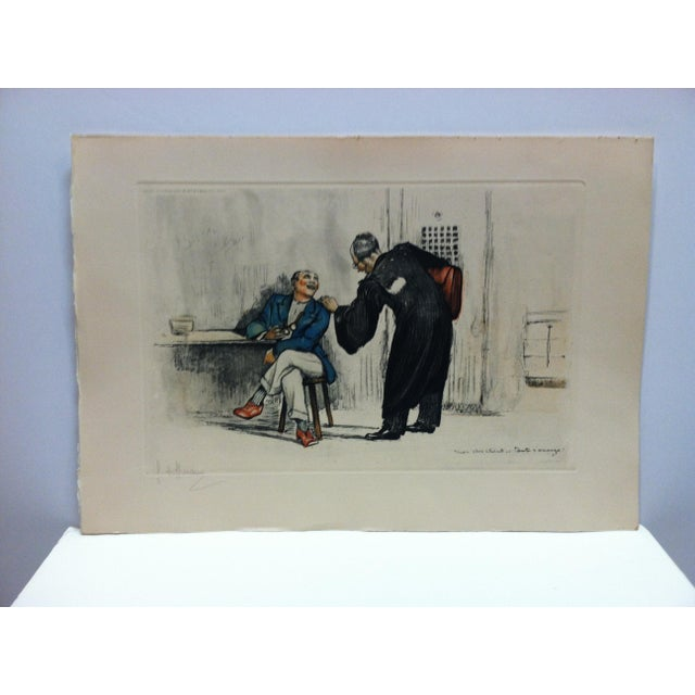 "1930s 1930s Vintage ""The Lawyer"" French Hand-Colored Print by G. Hoffmann For Sale - Image 5 of 5"