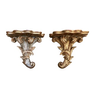 Italian Carved Wood Wall Brackets - a Pair For Sale