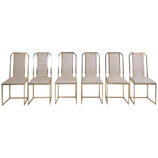 Set of 6 Dining Chairs in Brass by Romeo Rega For Sale