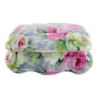 Vintage Ceramic Rose Trinket Box For Sale