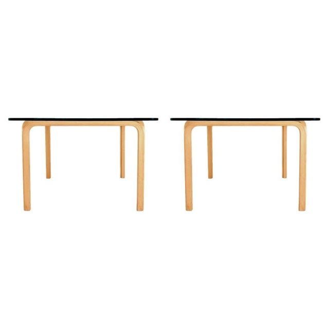 Alvar Aalto Artek Glass & Bentwood Birch Coffee or Cocktail Tables - a Pair For Sale - Image 9 of 9