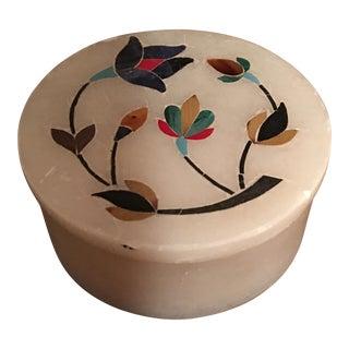 Indian Inlay Pietra Dura Trinket Box