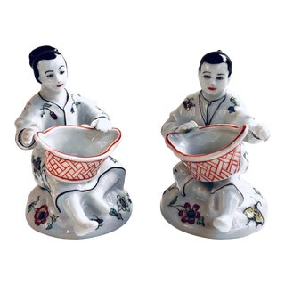 French Chinoiserie Salt Cellars, Pair For Sale