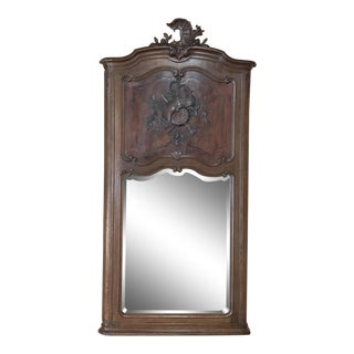 19th Century French Louis XV Carved Trumeau With Beveled Mirror For Sale