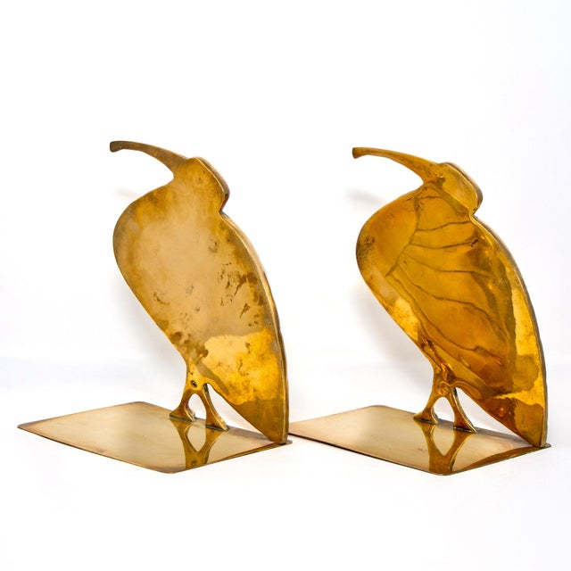 1980s Mid Century Pair Brass Heron or Egret Bookends For Sale - Image 5 of 11