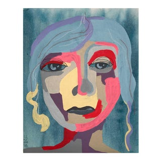"Contemporary Abstract Portrait Painting ""Blue Haired Babe"" - Framed For Sale"