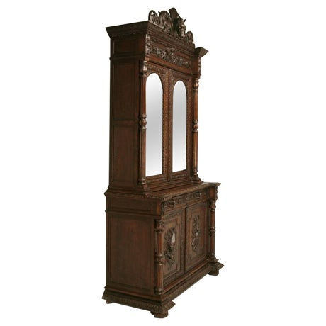Antique French, Heavily Carved Oak Hunt Cabinet with Intricate Fox Crown -  Image 1 of - Exquisite Antique French, Heavily Carved Oak Hunt Cabinet With