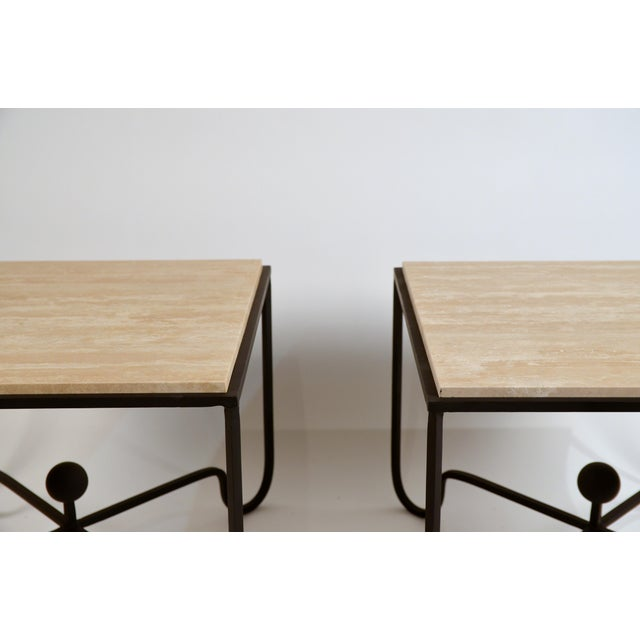 Modern Large 'Entretoise' Cream Travertine Side Tables by Design Freres - a Pair For Sale - Image 3 of 6