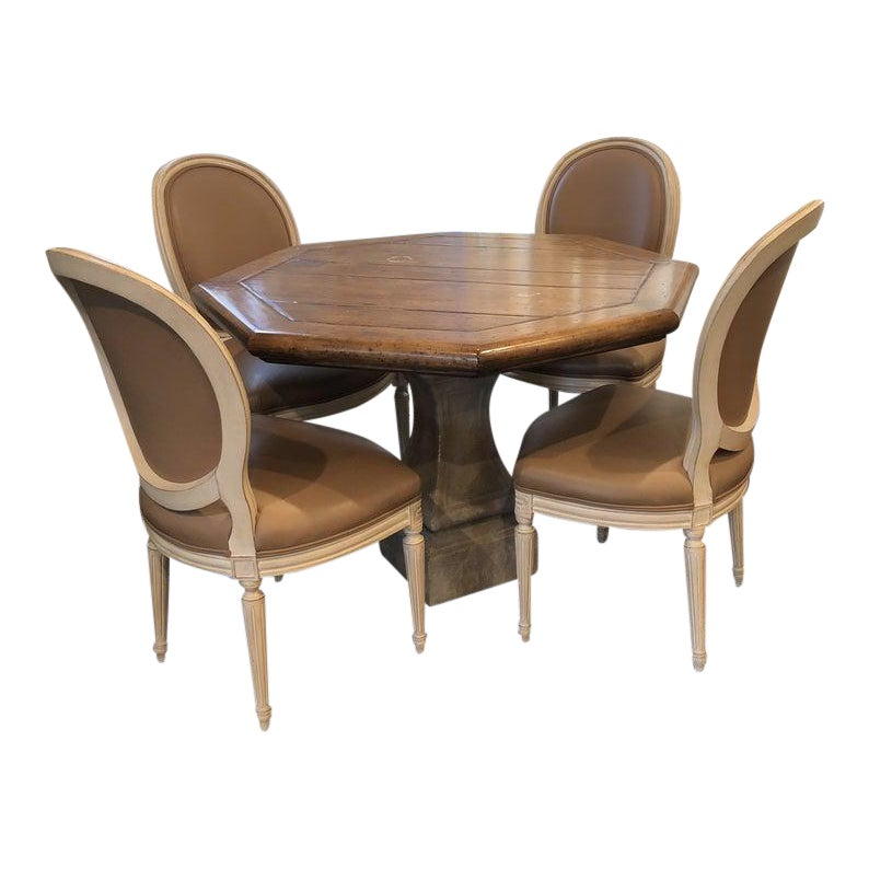 Solid Wood Table With Stone Pedestal Base & Chairs