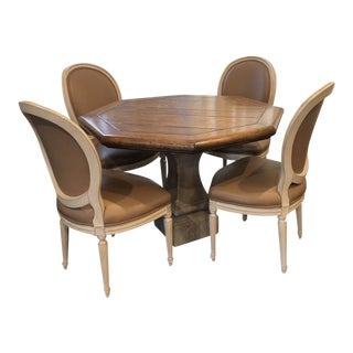 Solid Wood Table With Stone Pedestal Base & Chairs For Sale