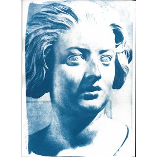 Limited Serie Cyanotype Print - Bernini Woman Bust Sculpture on Watercolor Paper