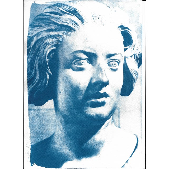 Limited Serie Cyanotype Print - Bernini Woman Bust Sculpture on Watercolor Paper For Sale