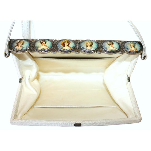 1960s White Lizard Purse With Portrait Frame For Sale - Image 4 of 6