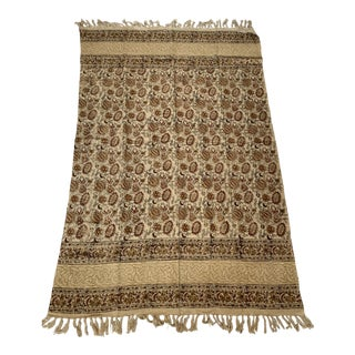 Boho Chic Indian Block Print Hand Loomed Cotton Fringed Blanket For Sale