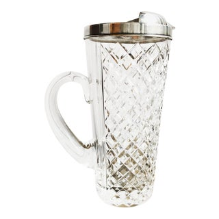 1920s Art Deco Tiffany & Co Sterling and Crystal Cocktail Pitcher For Sale