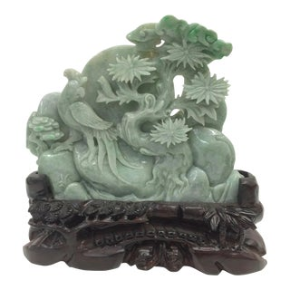 Carved Jade Sculpture Mountain With Trees and Birds For Sale