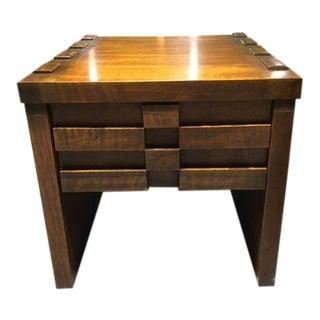 Vintage Brutalist Side Table With Drawer For Sale