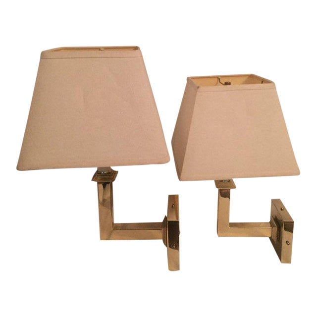 Vintage Modern Square Arm Wall Lamps Heavy Brass in the Style of Karl Springer - a Pair For Sale