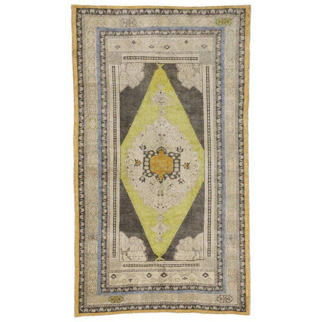 Textile Vintage Mid-Century Turkish Oushak Area Rug - 5′1″ × 8′10″ For Sale - Image 7 of 7