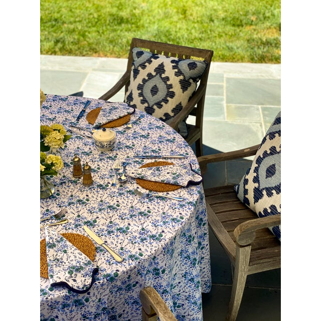 Blue Floral Scalloped Rectangle Tablecloth For Sale - Image 4 of 6