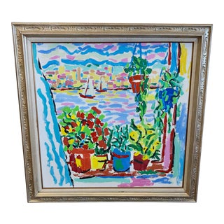 1960s Nautical Window View Painting For Sale