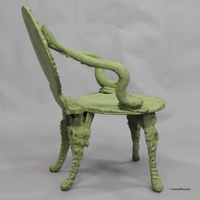 Black Forest Antique Wooden Carved Grotto Armchair Ca. 1880 For Sale - Image 3 of 11