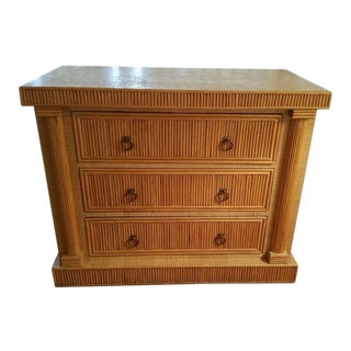 Mid-Century 70's French Empire Style Godfather Rattan Chest of Drawers For Sale