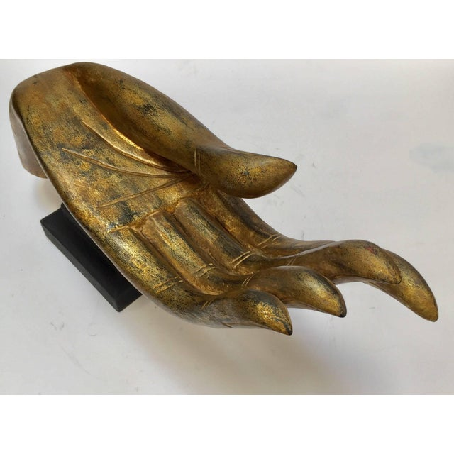 Giltwood Buddha Hand on Stand, Thailand For Sale - Image 4 of 13