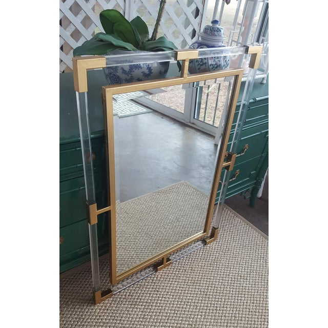 Large Lucite and Gold Metal Beveled Mirror - Image 7 of 9