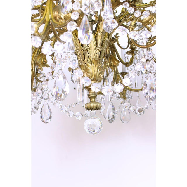 French Gilt Bronze and Crystal 36 Light Chandelier For Sale - Image 4 of 9
