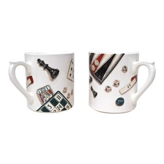 Gien France Games Mugs, Pair For Sale