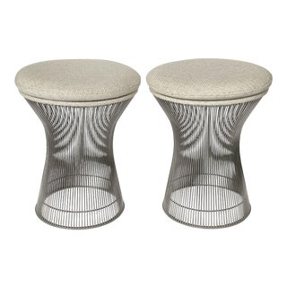Pair of Early Warren Platner Wire Stools for Knoll For Sale