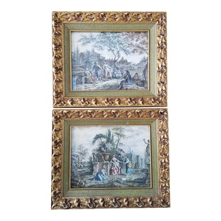 Vintage Framed French Engraving Prints, a Pair For Sale
