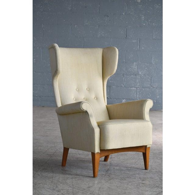 Fritz Hansen 1950s Wingback Chair Model 8023 in Teak Danish Mid-Century For Sale - Image 11 of 12