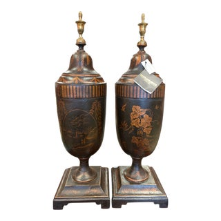 Maitland-Smith Covered Urns - a Pair For Sale