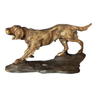 Antique English Cast Bronze Hunting Dog Sculpture For Sale