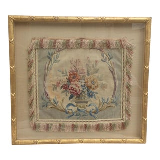 Antique Framed Aubusson Tapestry Pillow