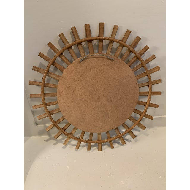Unusual 1960's French sunburst mirror. The bamboo stems have been cut vertically so the rays are not rounded but rather...