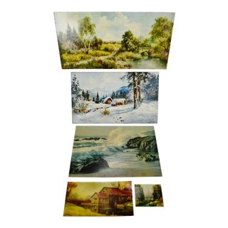 Vintage Textured Lithographs on Board - Group of 5 For Sale