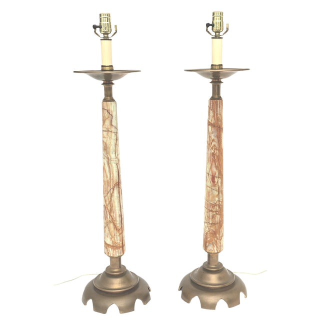 Mid-Century Onyx and Bronze Lamps - a Pair For Sale