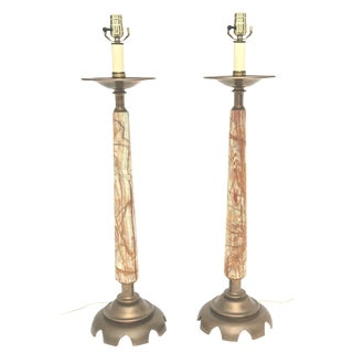 Pair of Onyx and Bronze Lamps For Sale