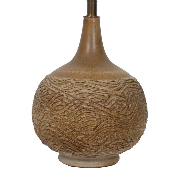 1970s Handcrafted Clay Table Lamp For Sale - Image 5 of 8
