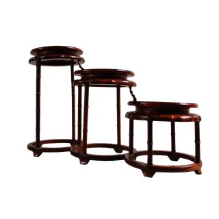 Brown Wood Step Shape Small Table Top Curio Display Easel Stand For Sale
